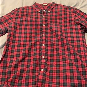 Green and red plaid j crew button down